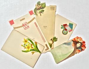 Lotto di 5 raffinati cartoncini grafica art nouveau